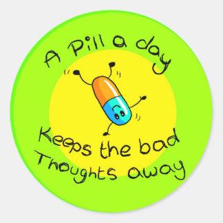 A pill a day classic round sticker
