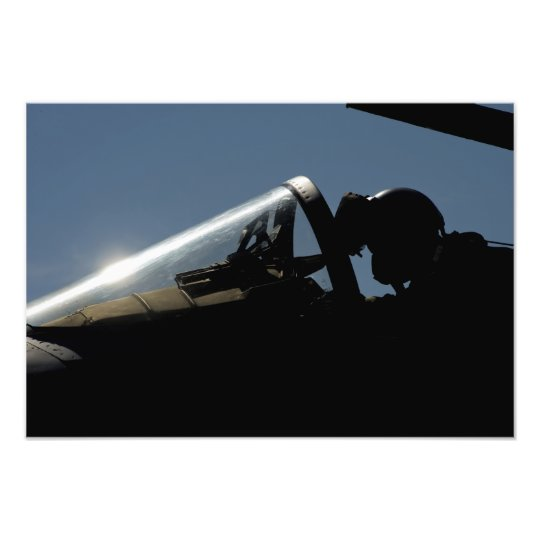 A pilot prepares for take-off photo print