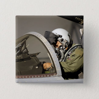 A pilot prepares his F-15A Eagle Pinback Button