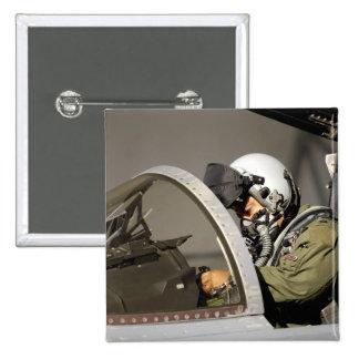 A pilot prepares his F-15A Eagle Pinback Button