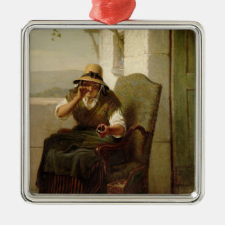 A Pinch of Snuff (oil on canvas) Metal Ornament