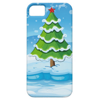 A pine tree above an iceberg with a red star iPhone SE/5/5s case