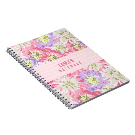 A pink and mauve pretty floral monogram notebook