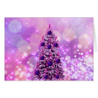 A pink and purple Christmas Tree Card