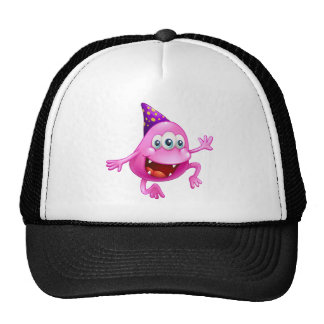 A pink beanie monster celebrating trucker hat