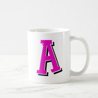 """A"" pink/black dotty mug"