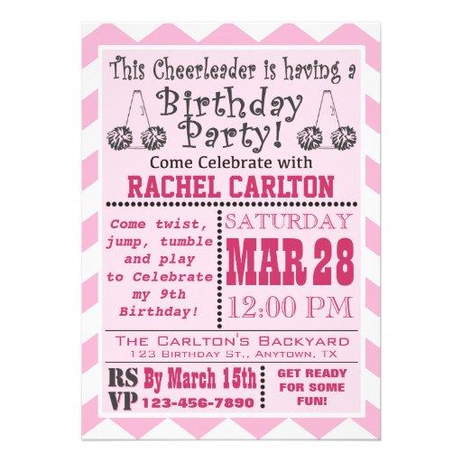 Personalized Cheerleader birthday Invitations – Cheerleading Party Invitations
