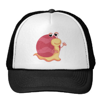 A pink color snail trucker hat