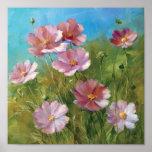 A Pink Floral Garden Poster