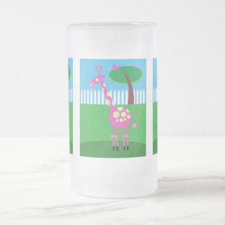 A Pink Giraffe Lives in My Backyard 16 Oz Frosted Glass Beer Mug