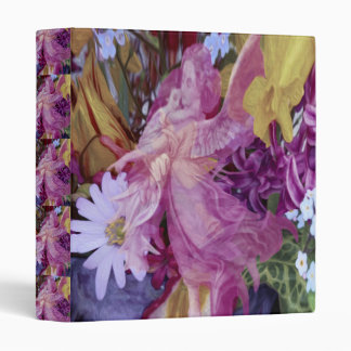 A pink guardian angel with child and flowers binder