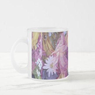 A pink guardian angel with child and flowers frosted glass coffee mug