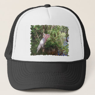 A Pink Major Mitchell's cockatoo on a barrel Trucker Hat