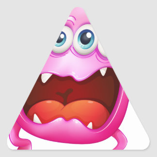 A pink monster shouting because of frustration triangle sticker