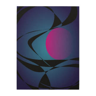 A Pink Moon and Clouds Wood Wall Art