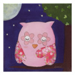 A Pink Owl's Summer Night In The Tree Poster