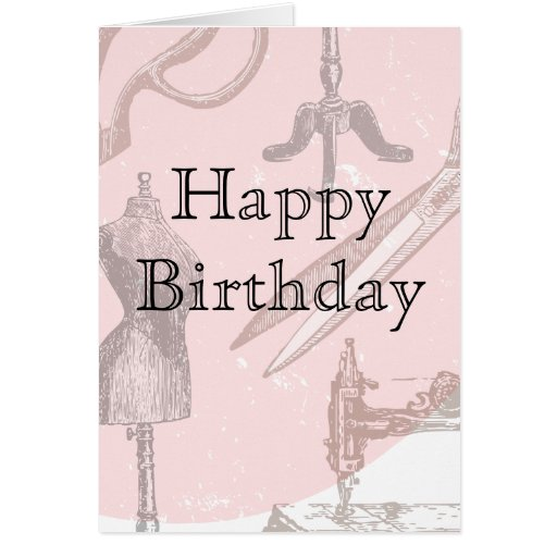 A pink sewing machine card for any occasion