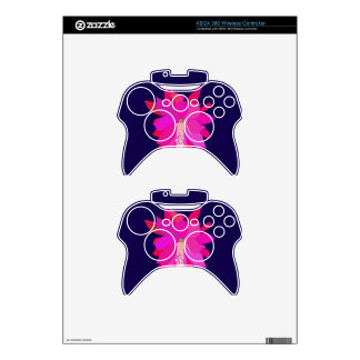 A Pink Tropical Flower on Navy Background Xbox 360 Controller Skin