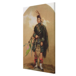 A Piper of the 79th Highlanders at Chobham Canvas Print