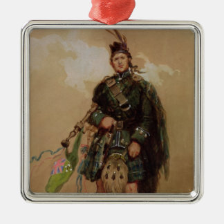 A Piper of the 79th Highlanders at Chobham Square Metal Christmas Ornament