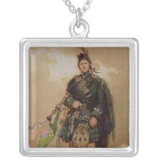 A Piper of the 79th Highlanders at Chobham Silver Plated Necklace