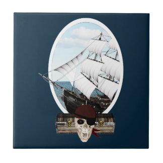 A Pirate Ship Ceramic Tile