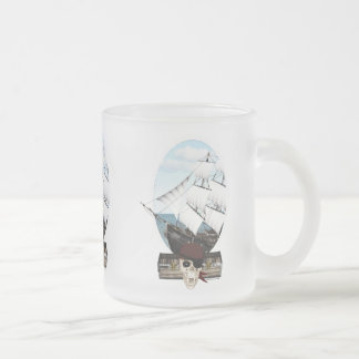 A Pirate Ship Frosted Glass Coffee Mug