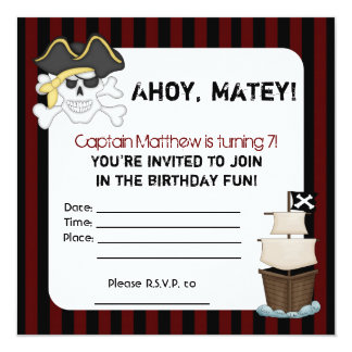'A Pirate's Life for Me' Birthday Invitation