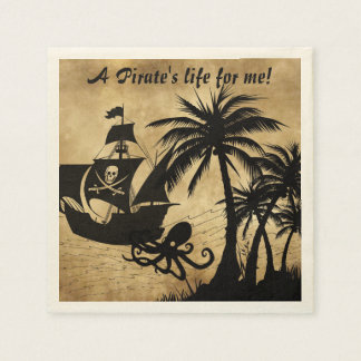 A Pirate's Life For Me Caribbean Treasure Map Paper Napkin