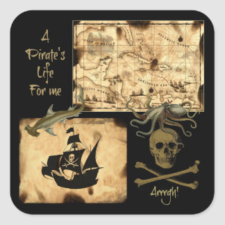 A Pirate's Life For Me Caribbean Treasure Map Square Sticker