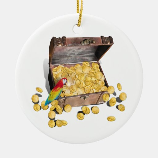 A Pirates Treasure Chest (Add Background Color) Double-Sided Ceramic Round Christmas Ornament