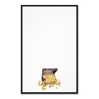 A Pirates Treasure Chest (Add Background Color) Stationery Paper