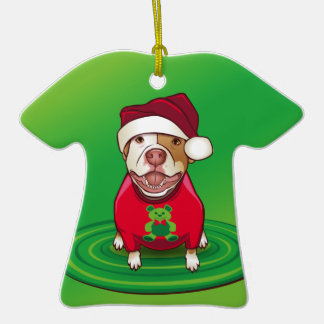 A Pit Bull in a Bear Tee Christmas Tree Ornaments