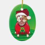 A Pit Bull in a Bear Tee Double-Sided Oval Ceramic Christmas Ornament