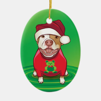 A Pit Bull in a Bear Tee Christmas Ornaments