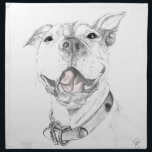 "A Pit Bull Smile Cloth Napkin<br><div class=""desc"">Originally drawn and sketched. Digitally revised to add the pink tongue and strengthen contrast. Keywords: puppy,  labrador,  pit bull,  Pearl,  smiling dog,  american staffordshire terrier,  retriever,  dog,  sepia,  monochromatic,  sketch,  drawing</div>"