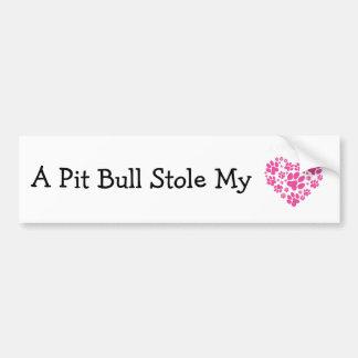 A Pit Bull Stole My Heart Bumper Sticker