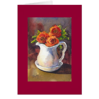 A Pitcher of Roses Greeting Card