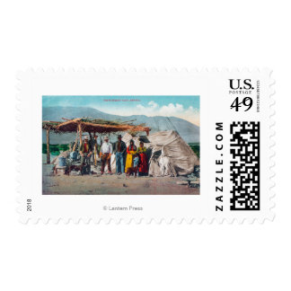 A Piute Indian Camp with NativesNevada Stamps
