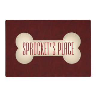 A Place for Pooch in Cream and Deep Red Placemat