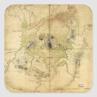 A Plan of Boston & Vicinity Map (1775) Square Sticker