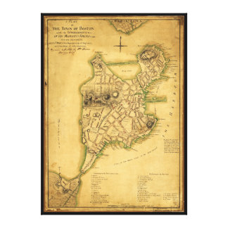 A Plan of the Town of Boston Map (1775) Stretched Canvas Prints