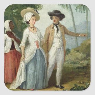 A Planter and his Wife, Attended by a Servant, c.1 Square Sticker