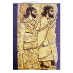 A plaque depicting two men walking greeting card