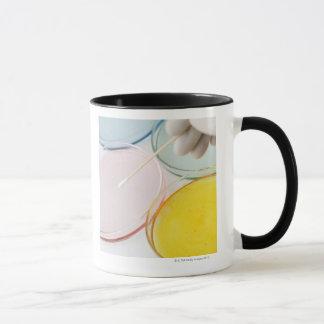 A plastic gloved hand sampling from petrie mug