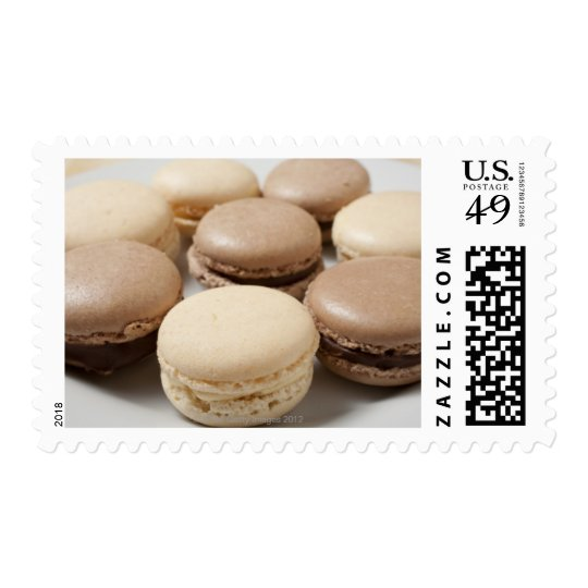 A plate of Chocolate and Vanilla Macarons, the Postage