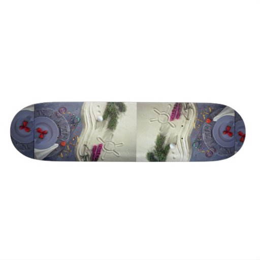 A plate of strawberries on antique sundial with wh skateboards