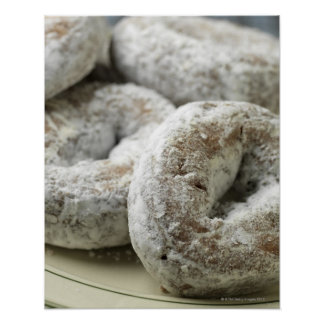 A plate of sugar donuts poster