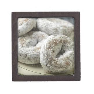 A plate of sugar donuts premium jewelry box