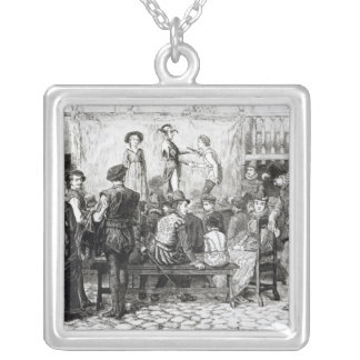 A Play in a London Inn Yard Silver Plated Necklace
